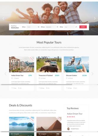 pilihan desain web travel
